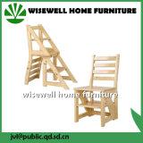 Cadeira convertível da escada da madeira de pinho