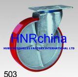 Roheisen rote PU-industrielle Schwenker-Hochleistungsfußrolle