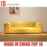 Meubles réglés de type de jaune de couleur de sofa de luxe italien de Nubuck pour la pièce de réglage