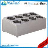 Support à deux lignes de panier de vaisselle plate de buffet de six réseaux d'acier inoxydable