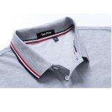 A tintura do fio do piqué do algodão listra a camisa de polo alaranjada do colar