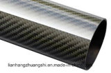 Tubo superficial brillante envuelto rodillo del tubo 3k de la fibra del carbón