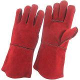 Luvas industriais vermelhas do trabalho da soldadura da segurança da mão do couro rachado do couro (111032)