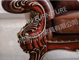 Mobilia L sofà sezionale del salone del cuoio di figura con la presidenza