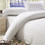 3cm Stripe 100% Algodão White Hotel Bedding Set