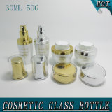 bottiglia cosmetica di vetro bianca e vaso della perla acrilica elegante del coperchio di 30ml 50g