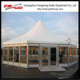 Tienda del polígono del PVC al aire libre y de la pared de cristal para el partido, la boda y la exposición