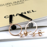 Longues boucles d'oreille de bijou de mode de dames populaires d'acier inoxydable avec le diamant