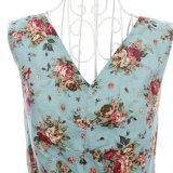 Dansende Kleding V van Kleidung van de jaren '60 van de Leverancier van de fabrikant 50er de Bloemen Blauwe Kleding van de Kraag