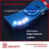 新しいデザインLED多彩な電気USBの満たされた手の紡績工のライター