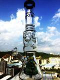 Conduite d'eau en verre bleue de Perc de Birdcage et de nid d'abeilles