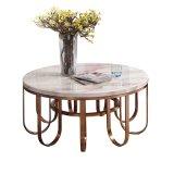 청동색 스테인리스 다리 디자인 (LC2012)를 가진 현대 커피용 탁자 대리석 상단
