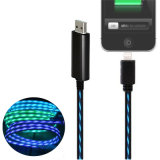 0.8m TPE LED는 iPhone와 인조 인간을%s 책임과 데이터 Sync USB 케이블을 불이 켜진다