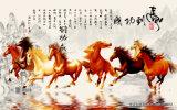 La peinture complète du style chinois traditionnel de 8 chevaux à cheval sur les prairies Numéro de modèle: Wl-001