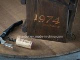 Portador de madeira do vinho do frasco feito sob encomenda do vintage dois com abridor