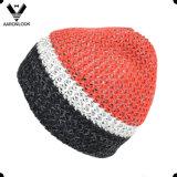 Lady Fashion Stripe Knit chapéu de malha colorido com forro interior de lã