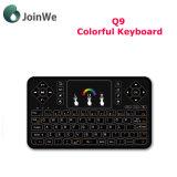Clavier de la radio Q9 mini 2.4G éclairé à contre-jour par clavier sans fil coloré