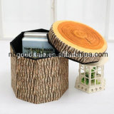熱い販売! 木デザインオットマンが付いている円形のFoldable収納箱