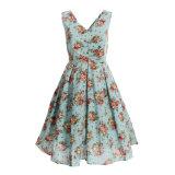 Desenhador mulheres de linho dos anos 50 de um vestido do vintage da parte mais o tamanho