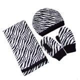 ヒョウのジャカードによって編まれる帽子、手袋およびスカーフ(JRK112)