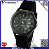 Relojes ocasionales de la alineada de la muchacha de las mujeres de los hombres del diseño del reloj del cuarzo de la manera de los hombres Yxl-266 del silicón de la dial del deporte redondo de lujo analogico del reloj