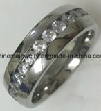 Brillarme anillo Titanium vendedor caliente del acero inoxidable con la piedra