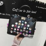 새로운 도착 대조 색깔은 Trasparent 수정같은 돌 Sy8136를 가진 핸드백 형식 숙녀 어깨에 매는 가방을 장식용 목을 박는다
