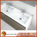 Partie supérieure du comptoir Polished blanche de pétillement de dessus de vanité de pierre de quartz pour la salle de bains