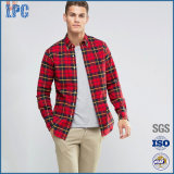 Faits sur commande tissés par flanelle de printemps rouge de qualité amincissent la chemise en bonne santé d'hommes