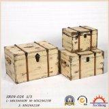 4의 나무로 되는 고대 직물 인쇄 여행 가방 저장 상자 세트