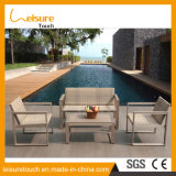 Sezionale a forma di L del sofà di alluminio anodizzato angolo moderno del sofà del salone con la mobilia esterna del sofà del giardino del tavolino da salotto