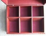 Boîte en bois faite sur commande à thé avec 6 compartiments