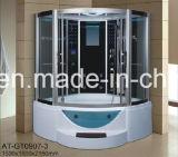 sauna do vapor do preto do setor de 1500mm com Jacuzzi e Tvdvd (AT-GT0907)