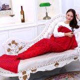Связанный Handmade спальный мешок обруча софы кровати хода одеяла кабеля Mermaid вязания крючком