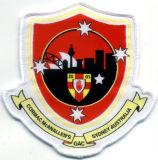 Emblema tecido personalizado do damasco roupa elevada