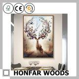 Pintura grande da arte dos alces do retângulo do tamanho no frame de madeira para a decoração
