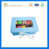 Macaron 호화스러운 선물 포장 상자 (Windows를 가진 엄밀한 마분지 macaron 수송용 포장 상자)