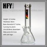 Hfyガラス配水管のビーカーベース9mm厚さのZob Tabaccoの水ぎせる陶酔するようで簡単なWaterpipesを煙らす12インチ