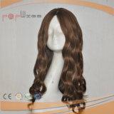 Brown-Farben-lockige Silk Spitzenfrauen-Perücke