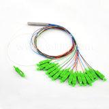 Sc / APC 1X4 / 1X8 / 1X16 // 1X32 / 1X64 Tubo de acero de fibra óptica desnuda PLC Splitter