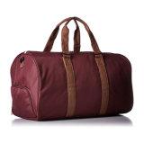 Polyester avec le sac de molleton en cuir de Weekender de sac de course de week-end de garniture