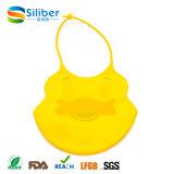 Baberos de alimentación de bebé de silicona con el bolsillo del catcher del alimento, babero impermeable unisex