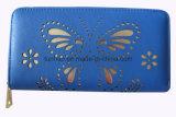 Raccoglitore di cuoio della chiusura lampo dell'unità di elaborazione della farfalla delle donne perforate di disegno