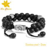 Stbd-053 de zwarte Armband van de Steen van het Agaat met de Robijnrode Juwelen van het Roestvrij staal