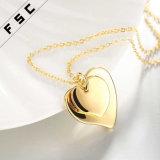 Gold überzogene Legierungs-Doppelt-Liebes-Heart-Shaped Halskette