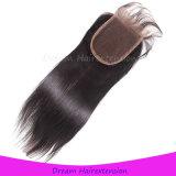 Бразильские прямые средние Parting волосы закрытия верхней части шнурка