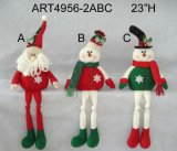 "20 "" H meia floral de Santa e de boneco de neve, 2 Asst"