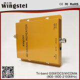 tri repetidor del móvil de la venda del triple del aumentador de presión de la señal del teléfono celular de venda de 2g 3G 4G GSM/Dcs/3G