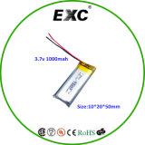 батарея полимера 3.7V перезаряжаемые 1000mAh Lipo 102050