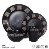 Ensemble en céramique de vaisselle de noir spécial de conception